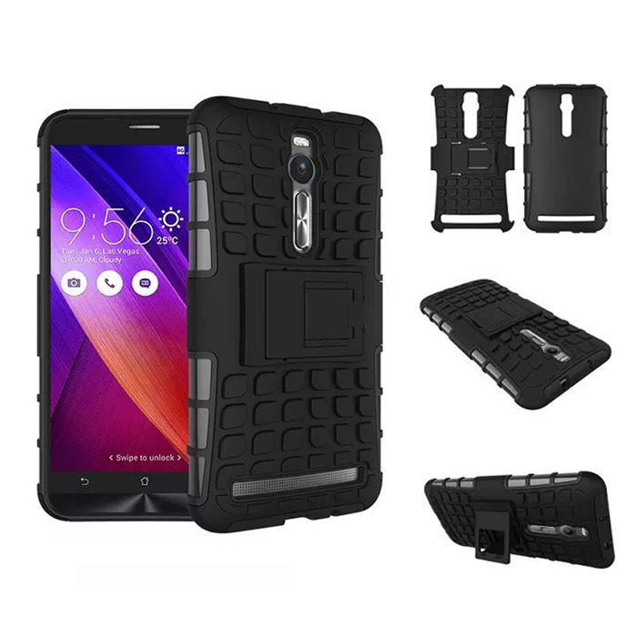 Protective TPU + PC Case w/ Holder for ASUS Zenfone 2 - Black