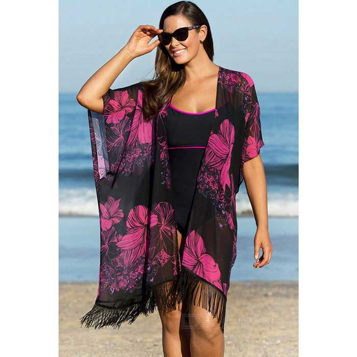 Flower Printing Sexy Beach Dress - Black + Deep Pink (Free Size)