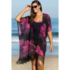 Polyester Flower Printing Sexy Beach Dress - Black + Deep Pink (Free Size)