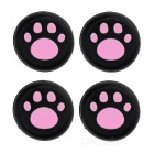 Cat's Claw Pattern Silicone Controller Thumb Grip Caps for PS4 + More - Black + Pink (4 PCS)
