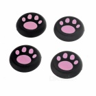 Cat's Claw Controller Thumb Grip Caps for PS4 - Black + Pink (4PCS)