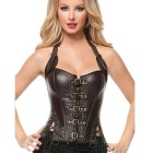 Women's Sexy Tight-Fitting PU Leather Corset Vest - Brownish Black (Size L)
