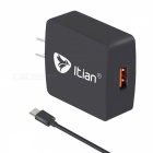 Itian Premium Design Quick Charge 2.0 15W Wall Charger - Black