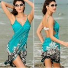 Polyester Printing Sexy Beach Dress - Blue Green + Black