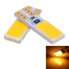 T10 3W 140lm Yellow 12-COB LED Car License Plate / Indoor Light (Pair)