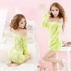 Sexy Perspective Long-Sleeved Printed Pajamas Racy Lace Lingerie - Fluorescent Green