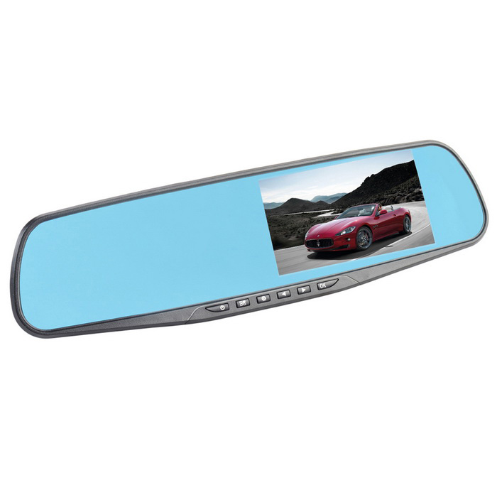"CHEERLINK 4.3"" TFT FHD 1080P 170' 3MP Rearview Mirror Car DVR - Blue"