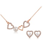 Classic Hearts Style Artificial Pearl Pendant Necklace for Women - Rose Gold