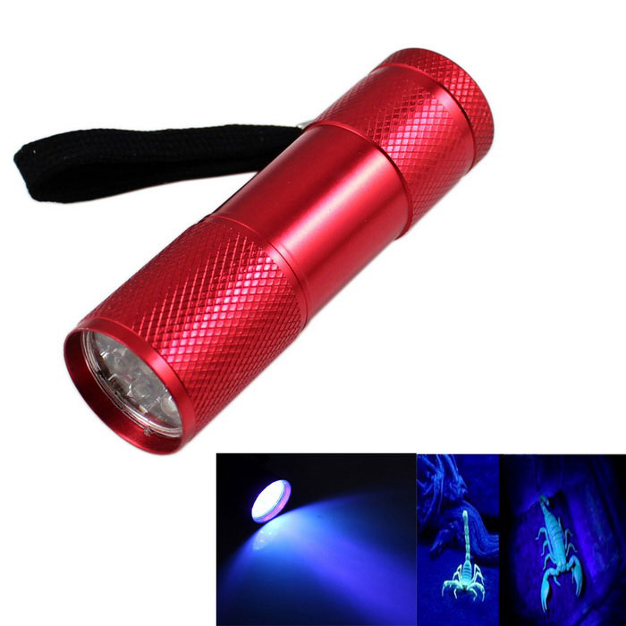 KINFIRE 9-LED 400nm Purple UV Money Detector Flashlight - Red