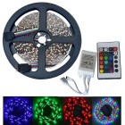 JIAWEN 25W 300-3528 SMD RGB LED Strip Light w/ 24-Key Remote Controller - White (DC 12V / 5m)