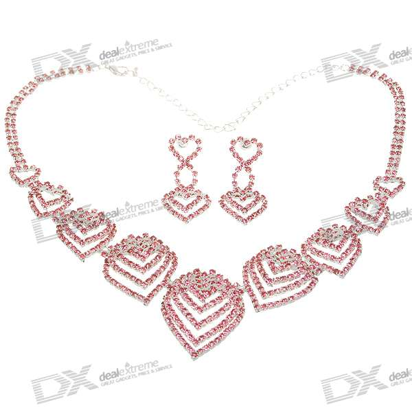 Elegant Stainless Steel Necklace with Heart Pendant + Earrings Jewelry Set (Pink)