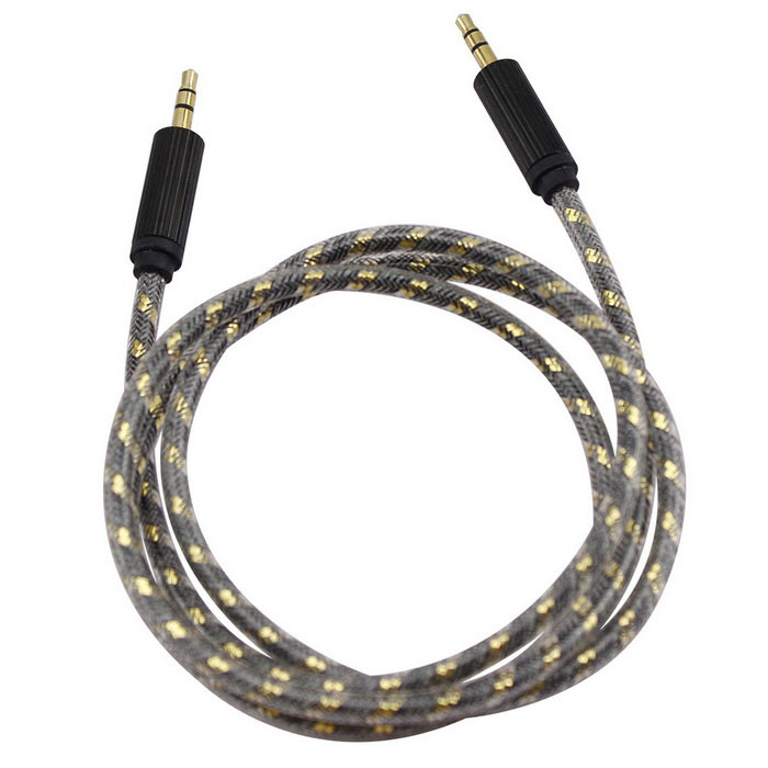 3.5mm Male to Male Electroplating Connectors Braided Audio Cable - Black