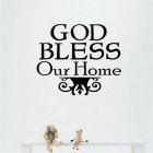 English Words Quotes God Bless Our Home Pattern Wall Decal  PVC Wall Sticker - Black