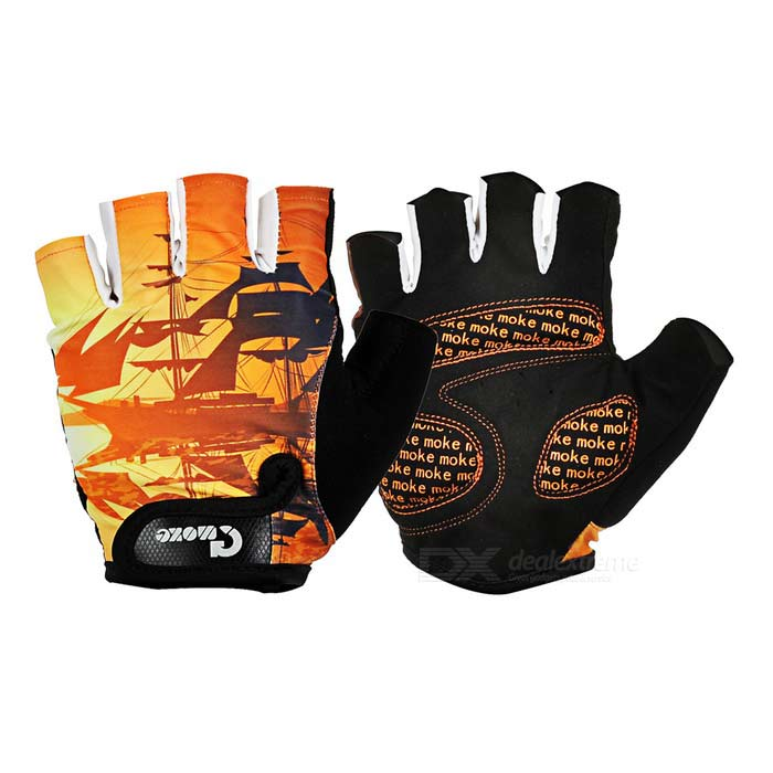 Moke Sweat-Absorbing Polyester Half-Finger Gloves - Black + Orange (M)