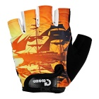 MOke Sweat-Absorbing Polyester Half-Finger Gloves - Black + Orange (L)