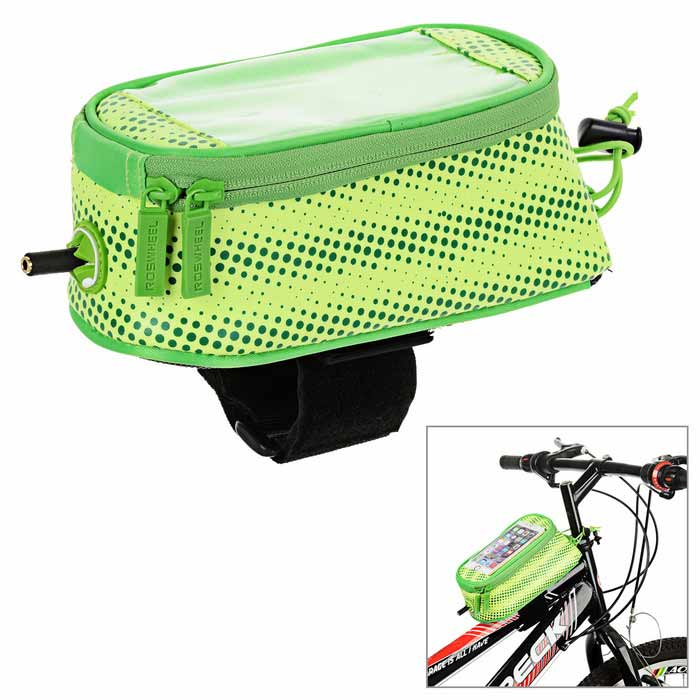 ROSWHEEL Water-Resistant Touch-Screen Case Bike Tube Bag - Green (M)