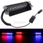 MZ 8W 8-LED Red + Blue Adjustable Car Flashing Emergency Warning Lamp