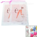 Portable Water Resistant Drawstring Storage Bag Pouch for Travel - White + Pink (2pcs)