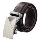 Men's Stylish Split Leather Belt w/ Triangle Pattern Automatic Buckle - Brown