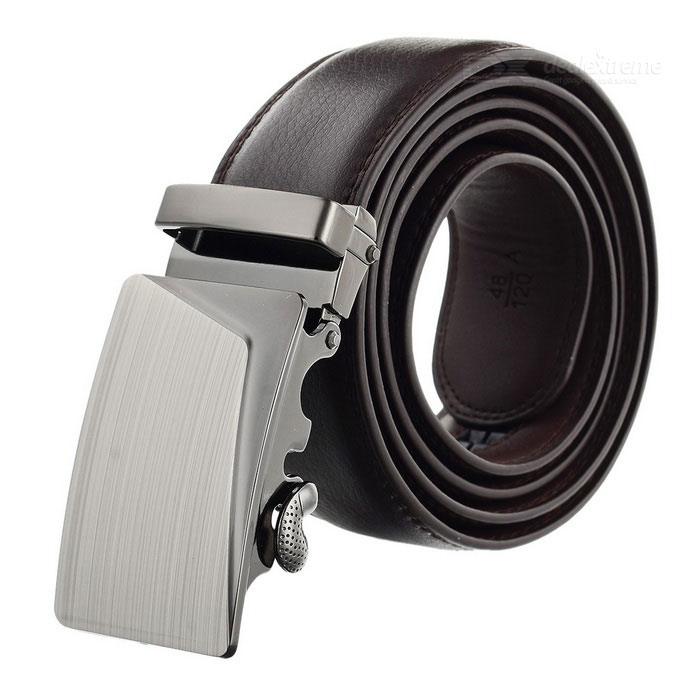 Men's Elegant Split Leather Belt w/ Fold Line Pattern Buckle - Brown