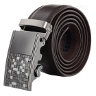 Split Cow Leather Waist Belt w/ Grid Patterned Automatic Buckle - Brown