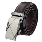 Men's Elegant Split Leather Belt w/ Cross Line Pattern Automatic Buckle - Brown