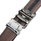 Men's Split Leather Belt w/ Floral Curved Automatic Buckle - Brown