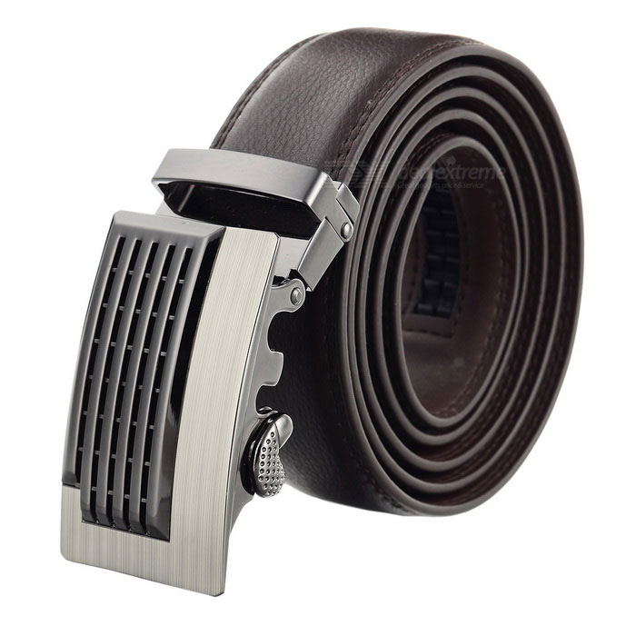 Men's Cow Split Leather Belt w/ Automatic Ratchet Buckle - Brown