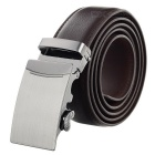 Men's Stylish Split Leather Belt w/ Simple Arch Pattern Automatic Buckle - Brown