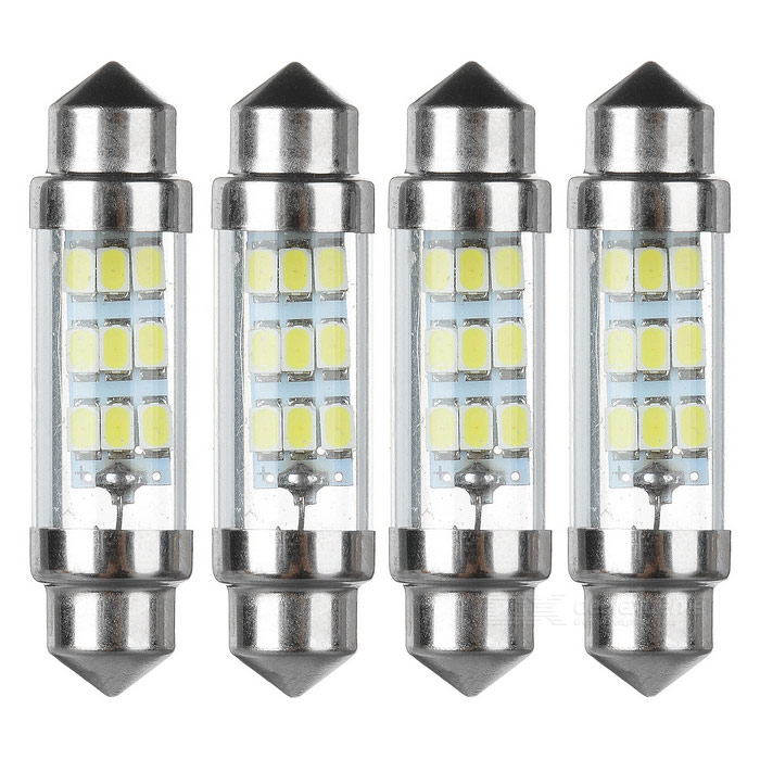 Festoon 40mm 0.3W LED Car Reading Lamp Cold White 35lm 9-SMD (4PCS)