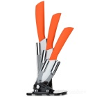"Anti-Rutsch-3 ""/ 4"" / 5 ""Keramikmesser + Halter Set - Orange + White"