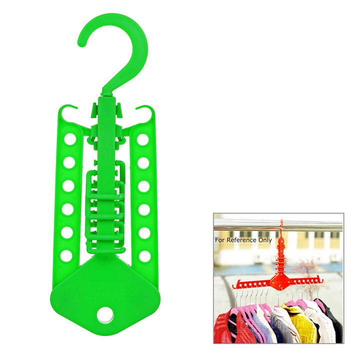 Creative Clothes Hanger Drying Rack Hook for Travel / Outdoor - Green