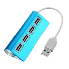 Mini Aluminum Alloy 480Mbps USB 2.0 4-Port Hub - Blue