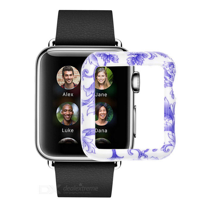 Patterned Plastic Watch Case for APPLE WATCH 42mm - White + Purple