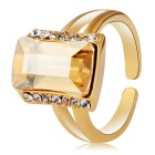 Rectangular Crystal Opening Ring for Women - Golden