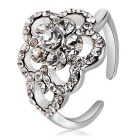 Plum Blossom Design Crystal Opening Ring for Women - Silver