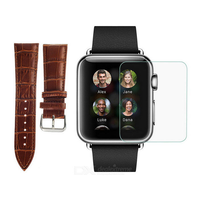 PUDINI Watchband + Tempered Screen Film for 38mm APPLE WATCH - Black