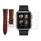 PUDINI Bamboo Pattern Watchband + Tempered Screen Protector Set for 38mm APPLE WATCH - Black