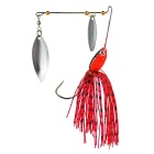 Double Willow Leaf Blades Sequins Fishing Spinner Bait Lure Spinnerbait - Red
