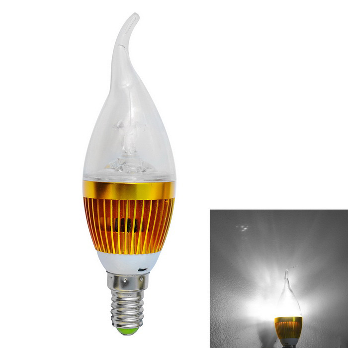 JIAWEN Dimmable E14 3W 3-LED Bulb Cold White Light 270-300lm (85~265V)E14<br>Form  ColorGoldenColor BINCool whiteMaterialAluminum + PlasticQuantity1 DX.PCM.Model.AttributeModel.UnitPower3WRated VoltageAC 85-265 DX.PCM.Model.AttributeModel.UnitConnector TypeE14Chip BrandOthers,N/AEmitter TypeLEDTotal Emitters3Theoretical Lumens270-300 DX.PCM.Model.AttributeModel.UnitActual Lumens270-300 DX.PCM.Model.AttributeModel.UnitColor Temperature12000K,Others,6000-6500KDimmableYesBeam Angle180 DX.PCM.Model.AttributeModel.UnitPacking List1 x Lamp<br>