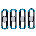 Universal Car Air Vent / Mount Holder for IPHONE / Sony / ANDROID Phones - Black + Blue (4PCS)