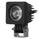 Wired 10W 1-LED 60 Degrees 850lm Square Work Light Spotlight for Car