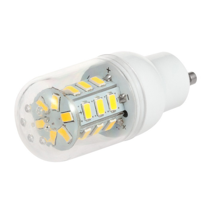GU10 2.5W LED Corn Bulb Lamp Warm White Light 3500K 300lm 24-SMD 5730GU10<br>Form  ColorTransparentColor BINWarm WhiteModelN/AMaterialABS plastic + aluminium alloyQuantity1 DX.PCM.Model.AttributeModel.UnitPowerOthers,2.5WRated VoltageAC 220-240 DX.PCM.Model.AttributeModel.UnitConnector TypeGU10Theoretical Lumens300 DX.PCM.Model.AttributeModel.UnitActual Lumens300 DX.PCM.Model.AttributeModel.UnitChip BrandOthers,N/AChip TypeN/AEmitter TypeOthers,5730 SMD LEDTotal Emitters24Color Temperature12000K,Others,3500KDimmableNoWavelengthN/ABeam Angle360 DX.PCM.Model.AttributeModel.UnitPacking List1 x Corn lamp<br>