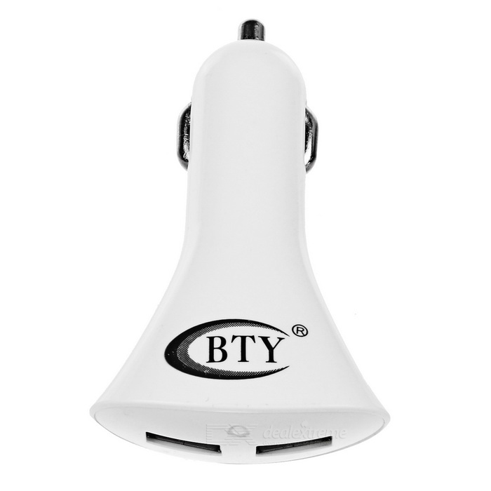 BTY M624 Dual-Port USB Smart Car Charger - White