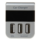 Egtong A7S Quick Charge 3.1A 10W 3-USB Car Charger w/ Blue LED -Silver