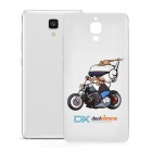 Motorcycle Pattern Protective Soft TPU Back Case Cover for Xiaomi Mi 4 - White + Transparent
