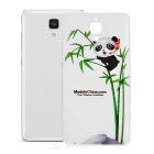 Panda Holding Bamboo Pattern Protective TPU Back Case for Xiaomi 4 - White + Transparent