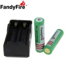 "FandyFire US Plugss Charger + ""2200mAh"" 18650 Protected Battery"