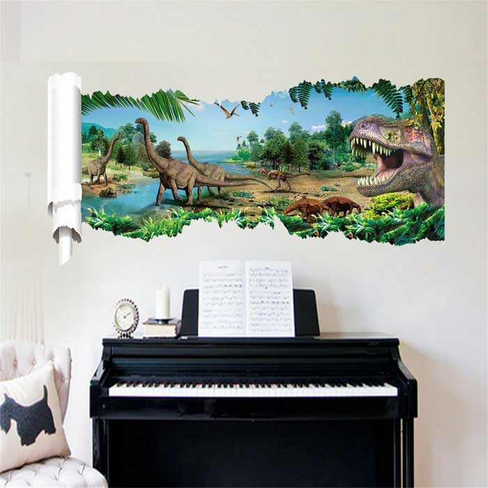 3D Dinosaur Pattern PVC Wall Stickers / Decals - Green + Blue + Multicolor(SKU 406877)