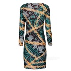 Fashionable Sexy Chain Printed Package Hip Dress - Multicolored (M)
